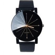 idivas 14Men Luxury Stainless Steel Quartz Military Sport Leather Band Dial Wrist Watch Black