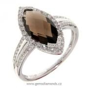 Luxusní prsten s diamanty, záhněda, bílé zlato, 3861026