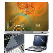 FineArts Laptop Skin HP Circle Orange With Screen Guard and Key Protector - Size 15.6 inch