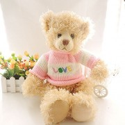 Mr. Bear & His Friends Curly Plush Teddy Bear Stuffed Toys LOVE Sweater Large Teddy Bears Soft Dolls Children Girls Gifts Toy Collection - Pink Sweater