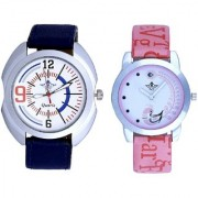 Extreem Blue Belt Sporty With Lite Pink Peacock Feathers Couple Casual Analogue SCK Wrist Watch