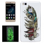 For Huawei P9 Lite Noctilucent Feather Pattern IMD Workmanship Soft TPU Back Cover Case