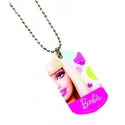 "Amscan Barbie Dog Tag Necklace (1 Piece), Pink/Multi, 10.75"""