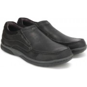 Clarks Randle Free Black Leather Sneakers For Men(Black)