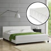 """Corium® Čalouněná postel """"Barcelona"""" HTB-1004 s matrací 200x200 cm bílá"""