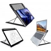 Maat XL Universele Laptop & LED A3 en A4 Lightpad Diamond Painting & Kookboek Standaard - Bureau Tafel Houder Staander - Inklapbaar & Verstelbaar, Maat 34 x 30 cm, zwart , merk i12Cover