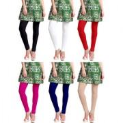 Jakqo Women's Cotton Plain Long Length Legging (Free Size Pack of 6 Black White Red Pink Royal Blue Tan)