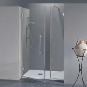Porta doccia con fisso in linea Simona da 90 cm in cristallo 8 mm Sabbiato Lampi SX