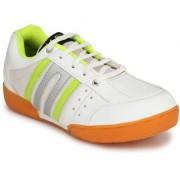 VSS Men's White Synthetic Leather Non Marking Badminton Sports Shoes