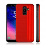 Angibabe TPU + PC Protective Case for Galaxy A6+ (2018) with Card Slot and Holder (Red)