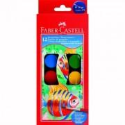 Acuarele 12 culori 24 mm + pensula Faber-Castell