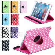 luxe druk polka dot 360 rotatie pu lederen case voor Apple iPad mini 3/2/1 tablet Smart Cover flip gevallen met standaard