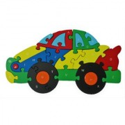Shy Shy Wooden Jigsaw Puzzle In Shape Of Car Each Piece Painted With Alphabets On One Side 1-26 Numbers On Other