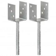 vidaXL Ancore de gard, 2 buc., argintiu, 8x6x30 cm, oțel galvanizat