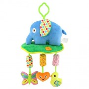 Baby Grow Newborn Infant Crib Rattles Bell Toy Cartoon Animal Toddler Bed Hanging Owl/Fish/Elephant Baby Plush Wind Chime Toys(Blue Elephant)
