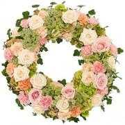 Rouwkrans Ajour zacht roze - wit