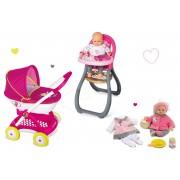 Smoby cărucior pentru păpuşă de jucărie, scaun de masă Maşa şi ursul şi păpuşă Baby Nurse 254101-3
