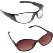 Criba Cat-eye, Retro Square Sunglasses(Brown, Clear)