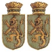 Design Toscano Escultura de Pared Medieval con Escudo de león, Set de 2, Juego de 2, 1, 1