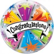 Qualatex Bubbles Congratulations Banner Blast Single Bubble 22in/55cm