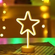 Lampa Decorativa Neon cu Stand Steluta de Inchiriat, Lumina Calda, cu Baterii