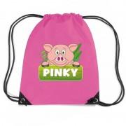 Bellatio Decorations Pinky the Pig varkens trekkoord rugzak / gymtas roze voor kinderen