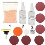 DIY Crafts 80 Gm Cerium Oxide Polishing Powder Car Polishing Kit Felt Polishing M10 for Drill Machine + Adhesive Backer + Sand Paper + Adhesive Tape + Woolen Pad + Buffing Pad
