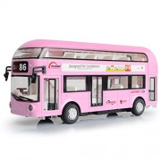 Makimama Alloy London Bus Double Decker Bus Light & Music Open Door Design Metal Bus Diecast Bus Design for Londoners Toy for Children - LKU114-F, Pink