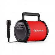 DR. Bang! 2.1-Altoparlante Bluetooth USB SD AUX Batteria incl. Microfono rosso
