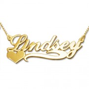 Personalized Men's Jewelry Side Heart 18K Gold Plated Silver Name Necklace 101-01-068-08