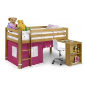 Wendy Kids Mid Sleeper Bed With Desk, Tent & Mattress - Pink