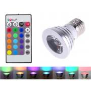 Bec Inteligent LED E27 3W RGB 16 Culori, Control din Telecomanda si 5 Functii