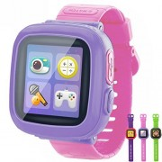 GBD Kids Game Smart Watches [AR Pro Edition] for Boys Girls Gifts with Pedometer Timer Camera Wristwatch Alarm Fitness Tracker Sport Watch Indoor Outdoor Children Learning Toy (PurplePink)