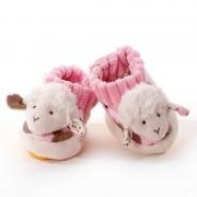 Merkloos Babyslofje schaaplammetje wit/roze 0-10mnd