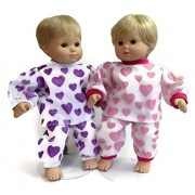 Doll Clothes Fits Bitty Baby And Bitty Twin And Other 15 Inch Dolls 2 Pajama Sets Pink Heart & Purple Heart