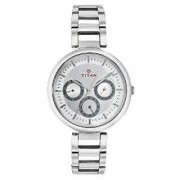 Titan Analog Silver Round Watch -2480SM03