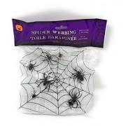 Halloween Party Decorations 7 piece Bundle Spider Web Caution Tape Pumpkin Carving Kit Window Door Skeleton
