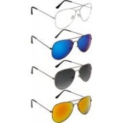 NuVew Aviator Sunglasses(Grey, Clear, Golden, Blue, Violet, Red)