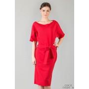 Red Loose Neckline Self Tie Belt Casual Dress