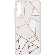 Design Backcover hoesje voor de Samsung Galaxy A70 - Grafisch Wit / Koper