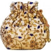AyA Fashion Designer Royal Ethnic Clutch Silk Potli Batwa Wallet Bag with Beads Work |Hand embrodired and Golden Lace work Potli(Blue)