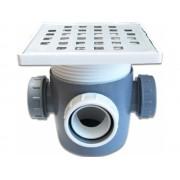 Sifon pentru pardoseala cu 3 iesiri cu dop si inaltator inox 50 mm,