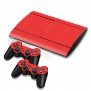 Sony Carbon Fiber structuur Stickers voor PS3 Game Console(rood)