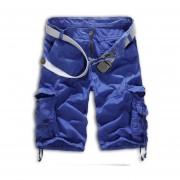 Hombres Flojos Camuflaje Cargamento Militar Shorts Sin Cinturón (azul)