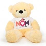 Peach 5 feet Big Teddy Bear wearing a Mom I Love You So Much T-shirt