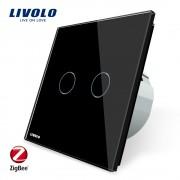 Intrerupator dublu cu touch Livolo din sticla - protocol ZigBee, Control de pe telefonul mobil, negru