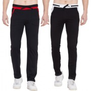 Cliths Pack Of 2- Black White Black Red Stylish Joggers For Men/ Casual Trackpants For Men