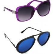 Hrinkar Over-sized Sunglasses(Grey, Blue)