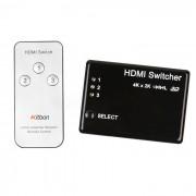 Kitbon 3-Port 3-en-1 salida HDMI Switcher w / controlador de control remoto - Negro
