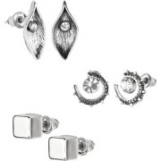 GoldNera Antique Silver Stud Earrings Solitaire Leaf Flowery Designs Set of 3 For Girls (STYLE 7)